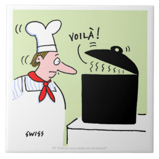 French Chef with Black Pot on Stove Cartoon Ceramic Tile