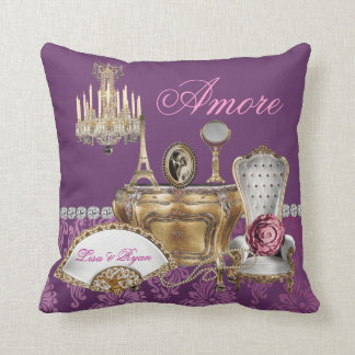 French CHIC PURPLE Pillow Custom Name AMORE