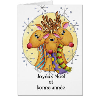 French Christmas Card - Reindeer - Joyeux Noël