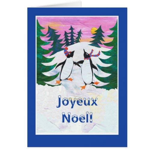 French Christmas Card - Skating Penguins