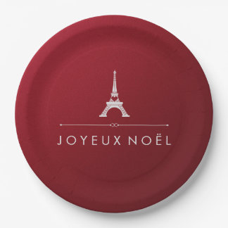 French Christmas Joyeux Noel Eiffel Tower on Red Paper Plate