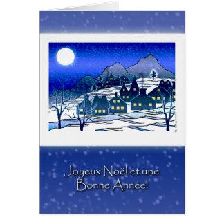 French Christmas, Joyeux Noël, Snowy Village Card