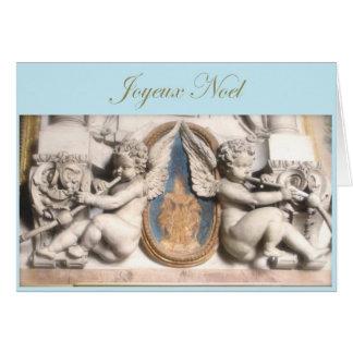French Christmas Joyeux Noel with cherubs Greeting Card
