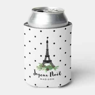 French Christmas Joyeux Noel with Eiffel Tower Can Cooler