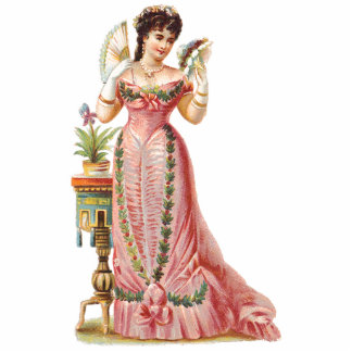 FRENCH CHRISTMAS ORNAMENTS - VICTORIAN BEAUTIES PHOTO SCULPTURE ORNAMENT