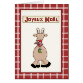 French Christmas Rudolf the Red Nose Reindeer Card