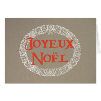 French Christmas Wreath White and Red on Burlap Card