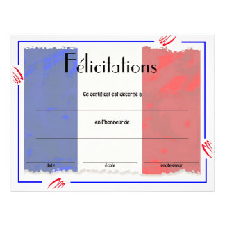 French Class Certificate of Acheivement Custom Flyer