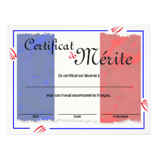 French Class Generic Certificate Flyer Design