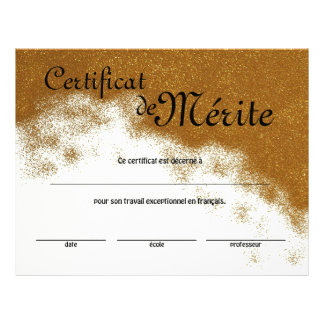 French Class Generic Certificate of Excellence Full Colour Flyer
