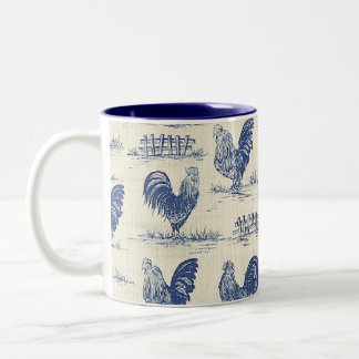 French Country Blue Roosters Coffee Cup Two-Tone Mug
