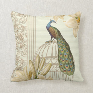 french country botanical lily vintage Peacock Throw Pillow