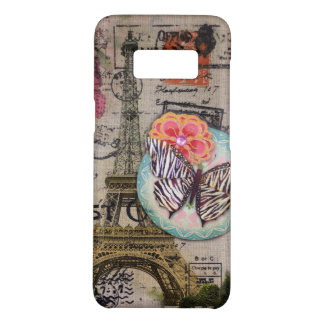 french country burlap butterfly eiffel tower Case-Mate samsung galaxy s8 case