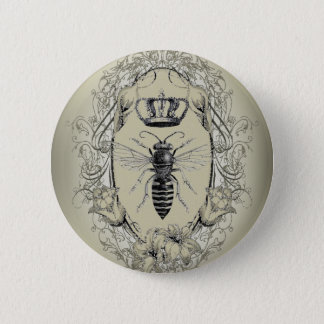 french country chic victorian crown queen bee 2 inch round button