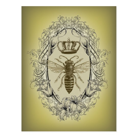 french country chic victorian crown queen bee postcard