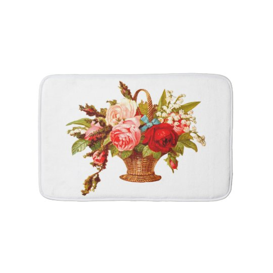 French Country Decor Rose Bouquet Bathroom Mat