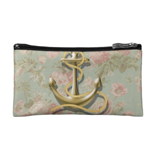 french country floral nautical girly anchor cosmetic bag