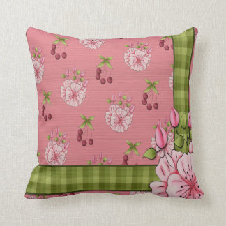 French Country Floral Plaid MoJo Throw Pillow