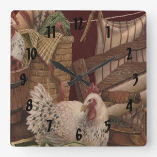 French Country Hen Laundry Day Print Clock