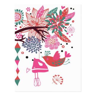 French Country Kitchen - Hand mixer on floral. Postcard