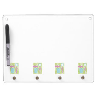 French Country Kitchen - Utensils on chevron. Dry Erase Board With Keychain Holder