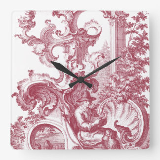 French Country Man and Dog Beautiful Red Toile Square Wall Clock