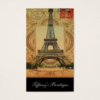 french country modern vintage paris eiffel tower business card