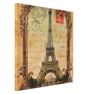 french country modern vintage paris eiffel tower canvas print
