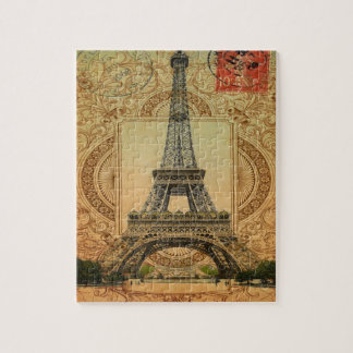 french country modern vintage paris eiffel tower jigsaw puzzle