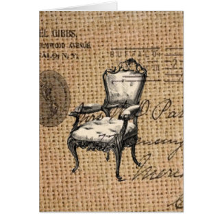 french country scripts burlap Paris rococo chair Card