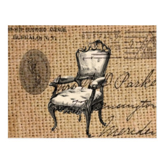french country scripts burlap Paris rococo chair Postcard
