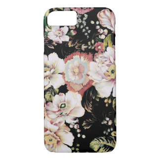 french country shabby chic flowers black floral iPhone 8/7 case