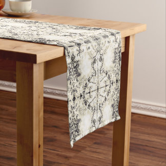 French Country Vintage Champagne Mosaic by Deprise Short Table Runner