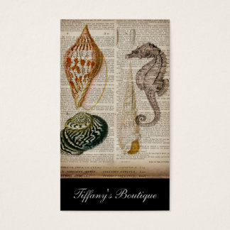 french country vintage seashell botanical print business card