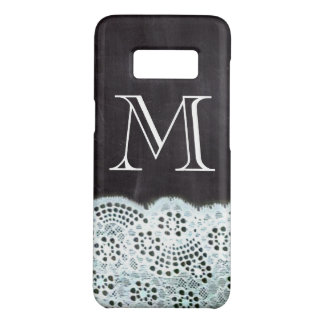 French country white lace chalkboard monogram Case-Mate samsung galaxy s8 case