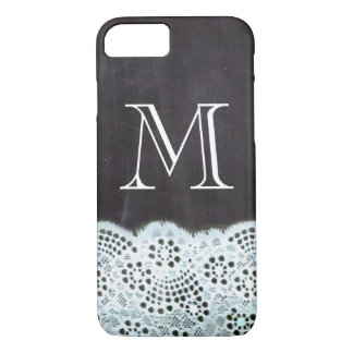 French country white lace chalkboard monogram iPhone 8/7 case