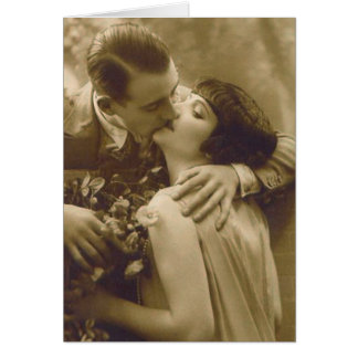 French Couple Kisses Card