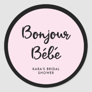 French Couture | Black and Pink Baby Shower Classic Round Sticker