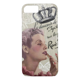 French Crown Retro Lady Shabby Chic Paris iPhone 7 Case