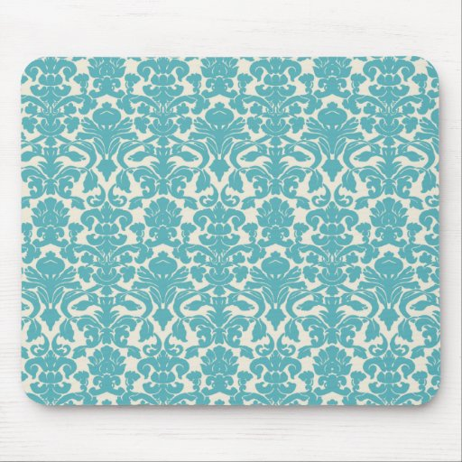 French Damask, Ornaments, Swirls - Blue White Mouse Pad