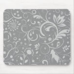 French Damask, Ornaments, Swirls - Grey White Mouse Pad