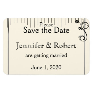French Deco Rose Black Cream Wedding Save the Date Rectangular Photo Magnet