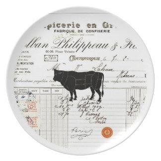 French decor melamine plate - Cow