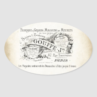 French Department Store Sign Oval Sticker