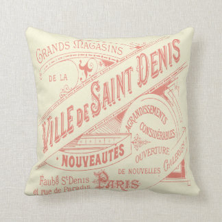 French Department Store Vintage Advertisement Throw Pillow