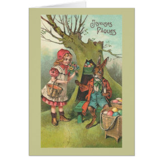 French Easter Bunny With Pipe Vintage Card