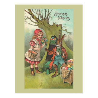 French Easter Bunny With Pipe Vintage Postcard