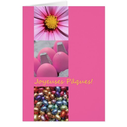French Easter Greeting Pink Collage Cards