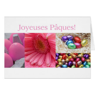 French Easter Greeting Pink Collage Greeting Cards