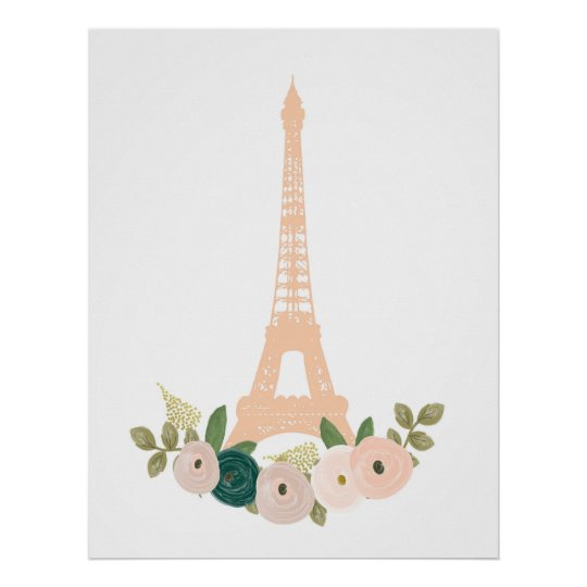 French Eiffel tower pink floral print